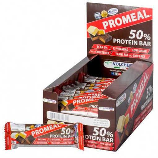 Снимка на Кутия с 20 бр Протеинов бар VOLCHEM Promeal Protein 50% от 60 г.