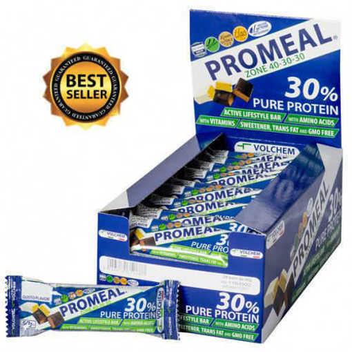 Снимка на Кутия с 24 бр. Протеинов бар VOLCHEM Promeal Zone 40-30-30 от 60 г.