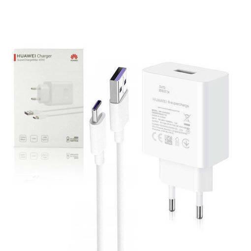 Снимка на HUAWEI 220v Super Charge 2 + USB-C HW-100400E00 40W White - Оригинално Бързо Зарядно Устройство