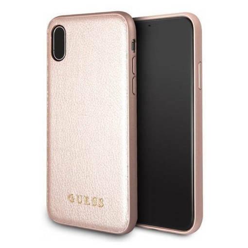 Снимка на Лицензиран Кожен Кейс - GUESS Leather Case iPhone XS/X Pink
