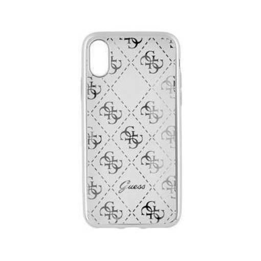 Снимка на Лицензиран Силиконов Кейс за  iPhone XS/X - GUESS Silicone Case Clear/Silver