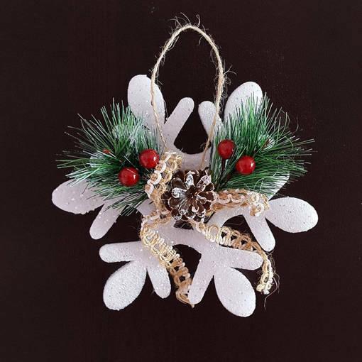 Снимка на Висяща коледна украса снежинка с декорация за окачване