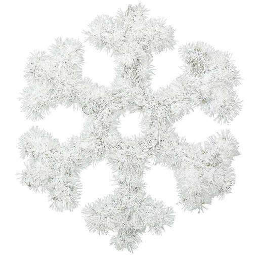 Снимка на Голяма бяла снежинка от гирлянд коледна украса за стена 32см