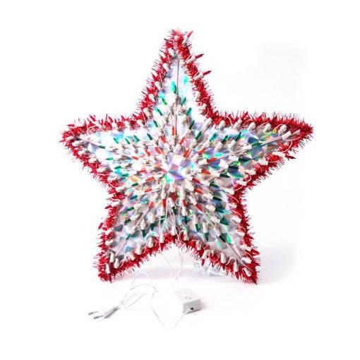 Снимка на Голяма коледна светеща звезда със 120 многоцветни лед лампички декорация за стена