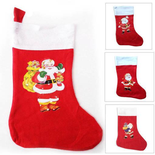 Снимка на Декоративен коледен чорап с картинка Коледен ботуш коледна торба за подаръци