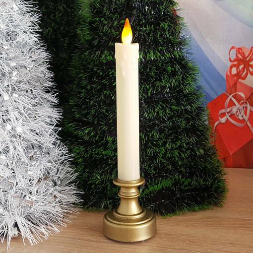Снимка на Електронна свещ с LED пламък реалистична коледна свещ на поставка
