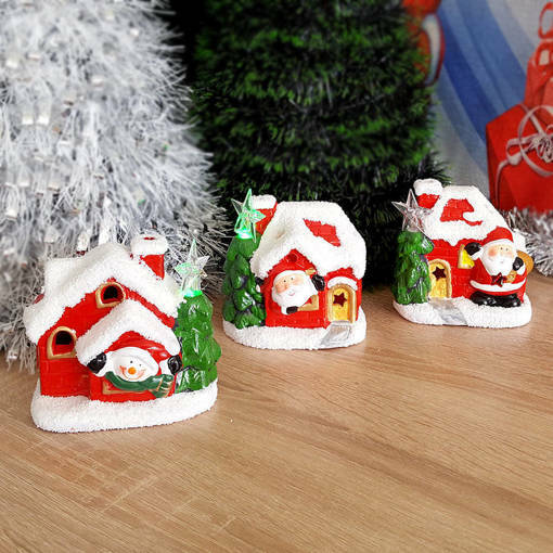 Керамична светеща коледна къщичка декорация украса