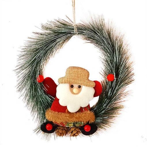 Снимка на Коледен венец за врата с Дядо Коледа 20см