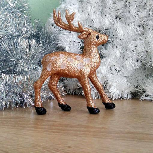 Снимка на Коледен сувенир брокатено еленче коледна декорация 8х13см