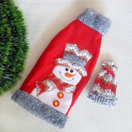 Снимка на Коледна дреха за бутилка с шапка коледен калъф декорация за маса