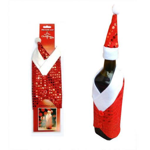 Снимка на Коледна дреха и шапка за бутилка с пайети калъф декорация за маса