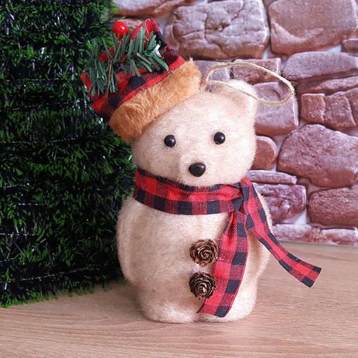Снимка на Коледна играчка Мече с шапка и шалче коледна украса 16см