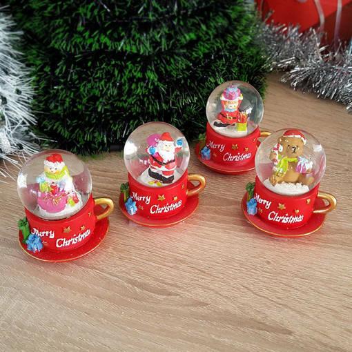 Снимка на Коледна снежна топка преспапие чашка Merry Christmas