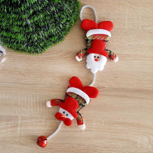 Снимка на Коледна украса висящ Дядо Коледа и Снежко със звънче 44см