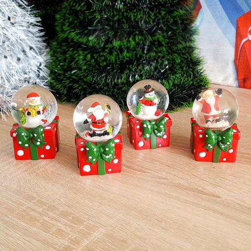 Снимка на Коледно преспапие Подарък с Дядо Коледа или Снежен човек 7см