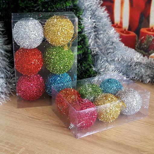 Снимка на Комплект блестящи коледни топки за елха коледни играчки за украса