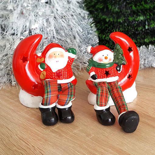 Снимка на Светеща керамична фигурка Дядо Коледа Снежко с луна коледна декорация