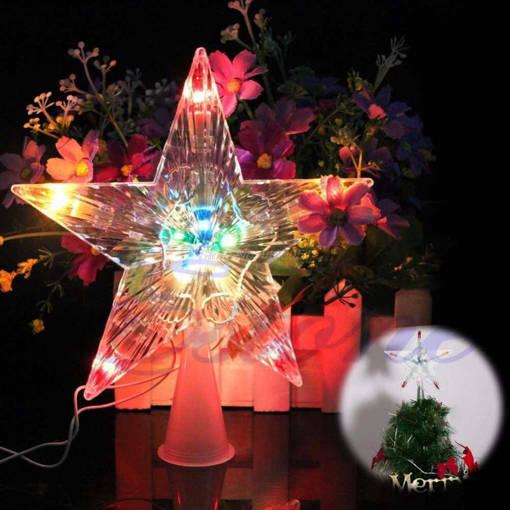 Снимка на Светеща коледна звезда за елха връх за елха звезда на батерии