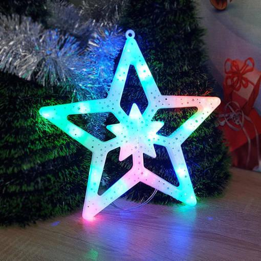 Снимка на Светеща коледна звезда с преливащи LED свeтлини украса за стена 27см