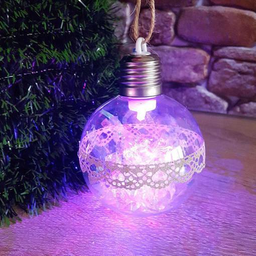 Снимка на Светеща коледна топка с pvc дантела за украса на елха 8см диаметър