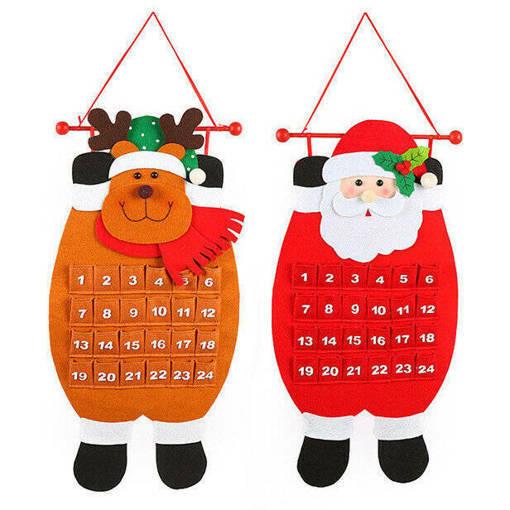 Снимка на Текстилен коледен календар с джобчета Дядо Коледа или Еленче 68см