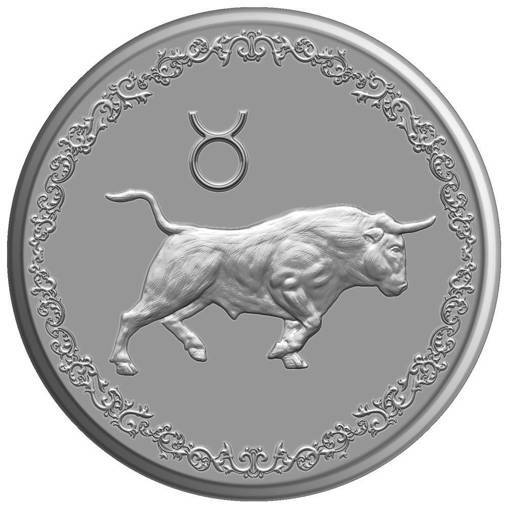 """Снимка на Сребърен медальон """"Зодия Телец"""""""