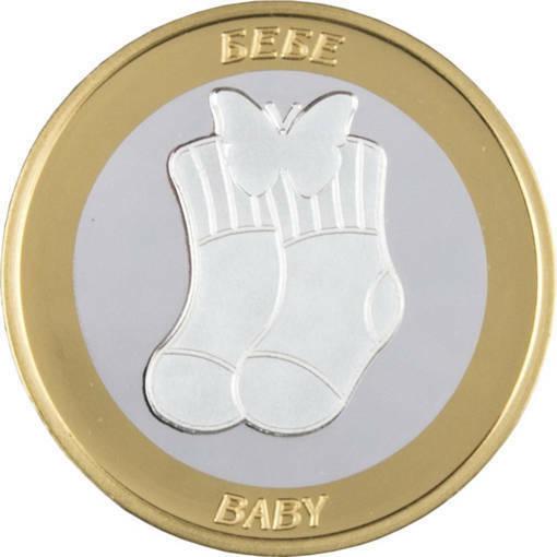 """Снимка на Сребърна паричка за късмет """"Бебе"""", с частично златно покритие"""
