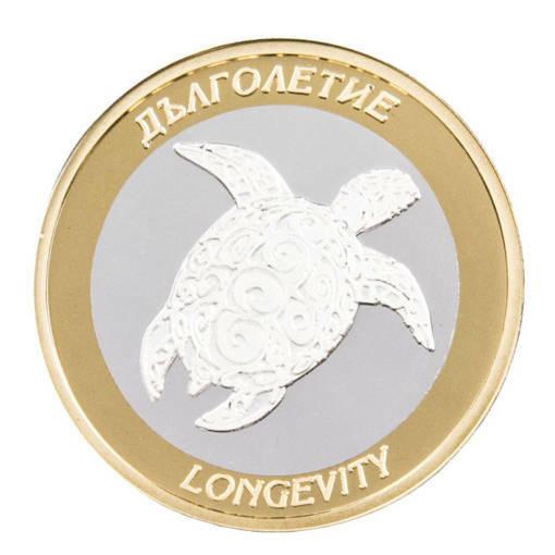 """Снимка на Сребърна паричка за късмет """"Дълголетие"""", с частично златно покритие"""