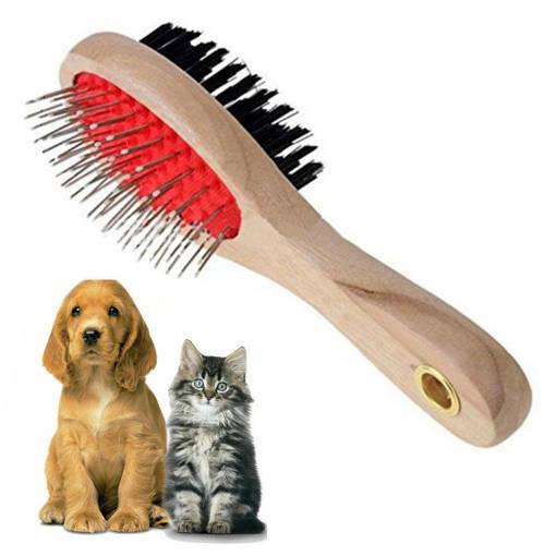 Снимка на Дървена двойна четка за ресане на кучета и котки обла