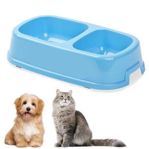Снимка на Пластмасова двойна купа за кучета и котки хранилка за домашни любимци