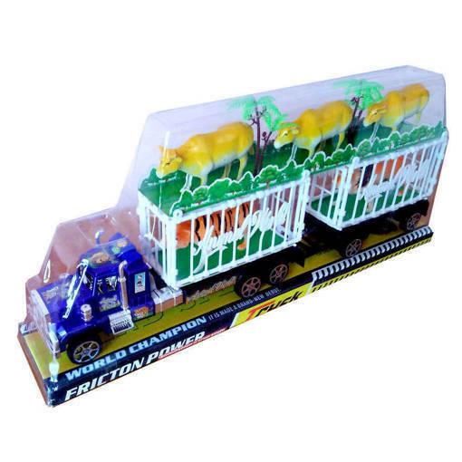 Снимка на Голям детски камион с две клетки и 5 животни крави тигър лъв 47см