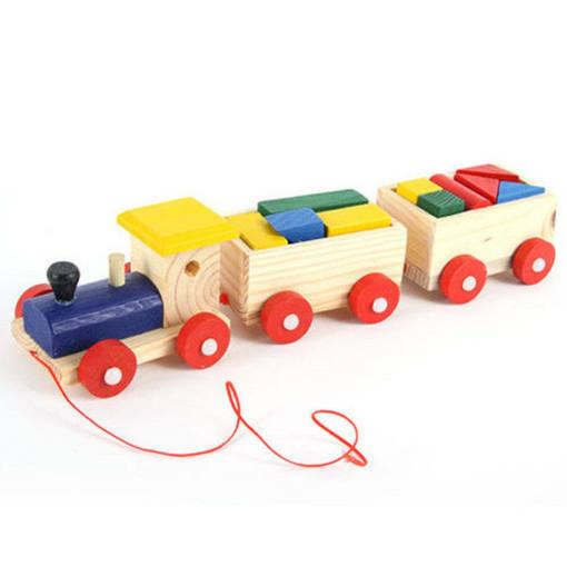 Дървен влак с вагони и строителни цветни блокчета конструктор играчка