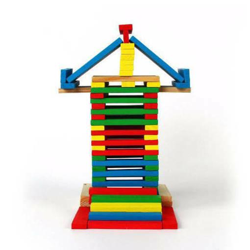 Детски многоцветен дървен конструктор 120 части строителни дървени блокчета