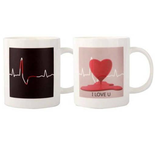 Снимка на Магическа чаша Пулс Подаръчна чаша с надпис I love you и сърце
