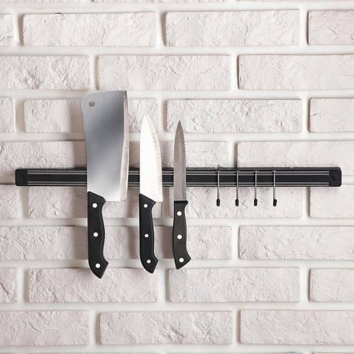 Магнитна лента за ножове с куки за закачане магнитна стойка за стена 51см