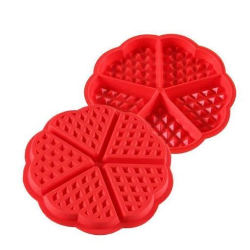Снимка на Силиконова форма за гофрети 5 гнезда молд за гофрети сърца
