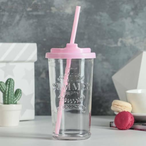 Снимка на Стъклена чаша с капак и сламка 400мл Summer Party