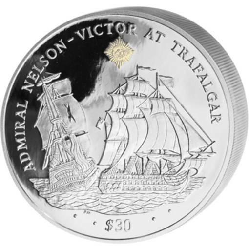 """Сребърна монета """"Адмирал Нелсон - Битката при Трафалгар"""""""