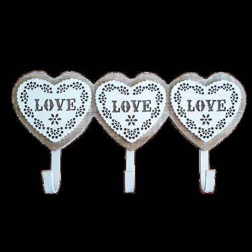 Снимка на Стенна декоративна дървена закачалка - 3 сърца с надпис Love