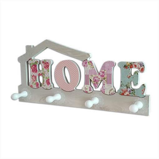 Декоративна дървена закачалка HOME цветен принт стенна закачалка