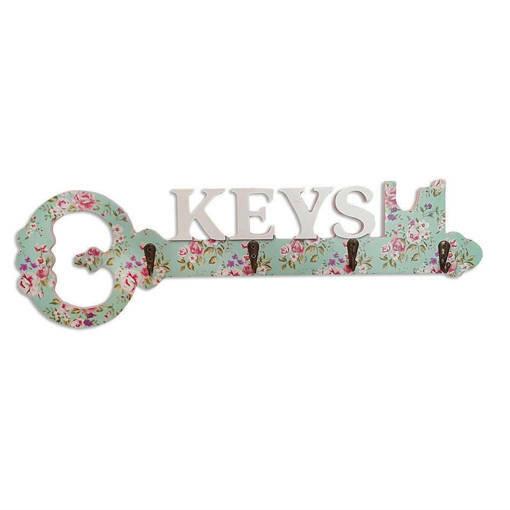 Декоративна закачалка за ключове с форма на голям ключ и надпис KEYS