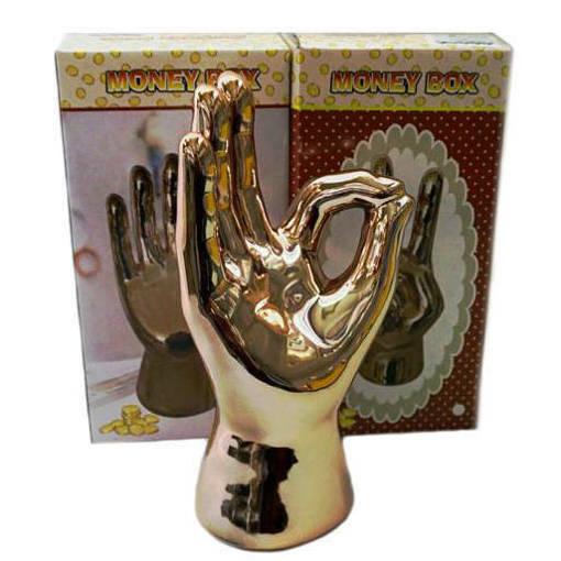 Голяма керамична касичка ръка OK златен цвят