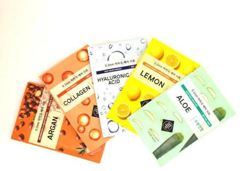 Etude House - 5 броя шийт-маски за лице с колаген, алое, лимон, арганово масло и хиалуронова киселина