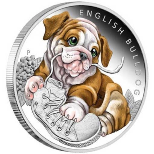 "Сребърна монета ""Кученца - Английски Булдог"""