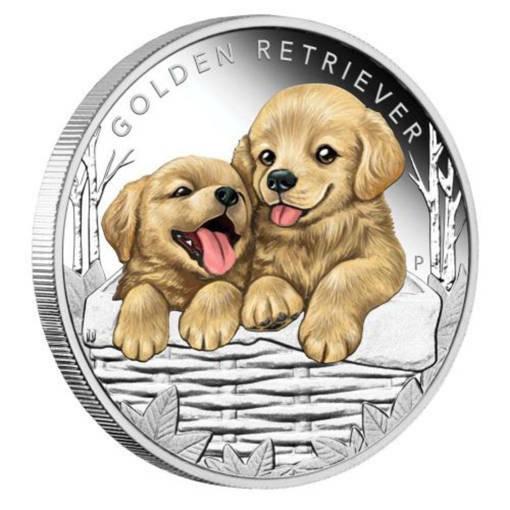 """Сребърна монета """"Кученца – Голдън ретрийвър"""""""