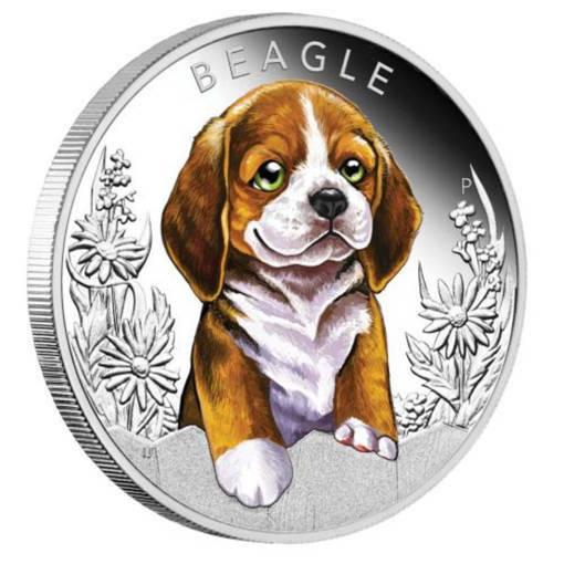 """Сребърна монета """"Кученца – Бигъл"""""""