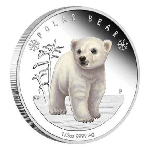 """Сребърна монета """"Полярни бебета - мече"""""""