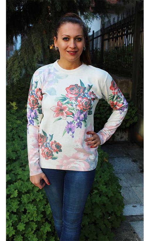 Блуза дълъг ръкав рози фино плетиво