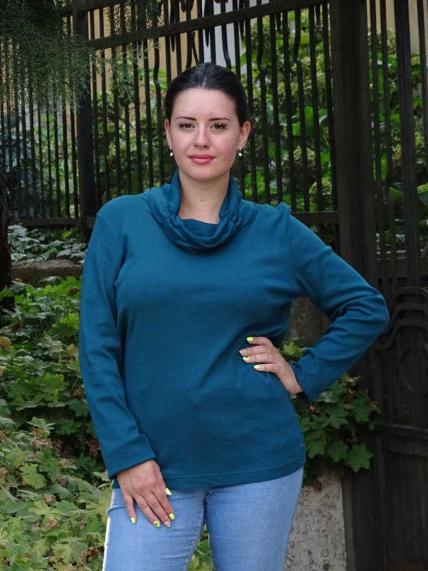 Блуза с шал-яка цвят тюркоаз Julia