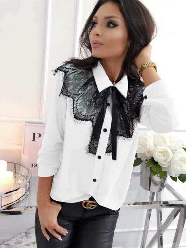Блузка с дантела официална бяла Камелия